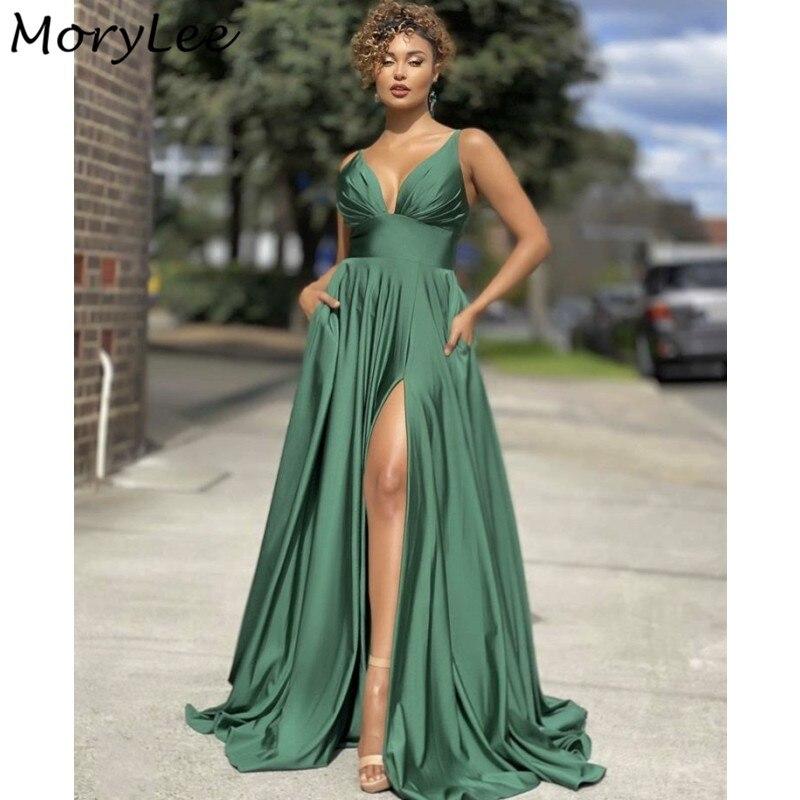 Prom Dresses Green Spaghetti Straps Side Slit Silk Satin A-Line Prom Dresses With Zipper Back vestidos de fiesta de noche