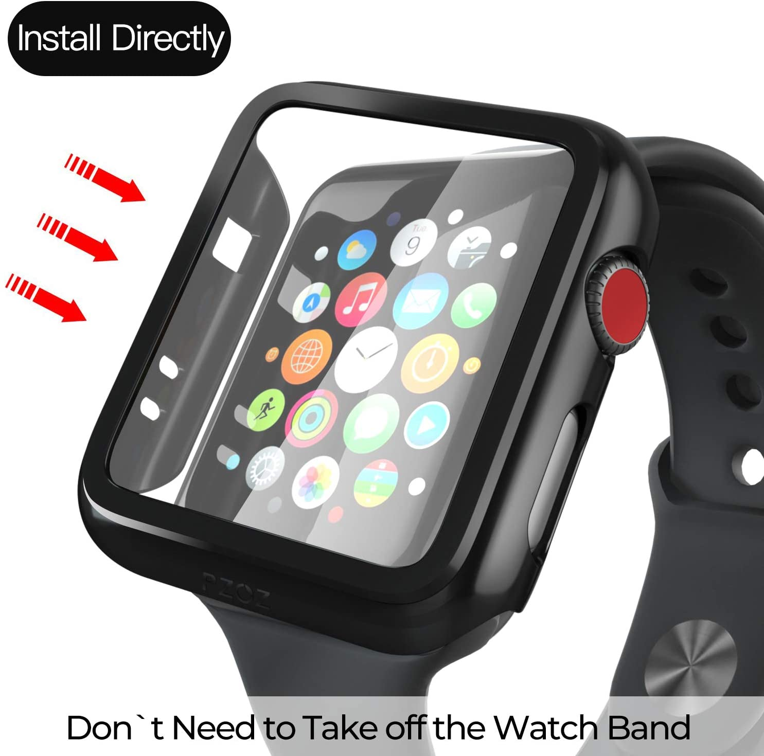 Compatible Apple Watch Series 6 SE Case 44mm 40mm Glass Film With Screen Protector Full Coverage For Iwatch 6 5 4 3 2 42mm 38mm 4