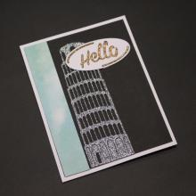 Leaning Tower of Pisa cutting mold DIY scrapbook album decoration supplies clear stamp paper card