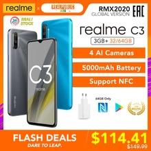 Realme C3 versión Global de 3GB de RAM 32GB/64GB ROM 5000mAh batería Helio G70 AI procesador 12MP + 2MP + 2MP AI 3 cámaras traseras Play Store