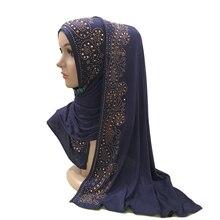 H1429 мода модальный эластичный джерси длинный шарф из хлопка с Стразы исламский хиджаб Женская повязка на голову