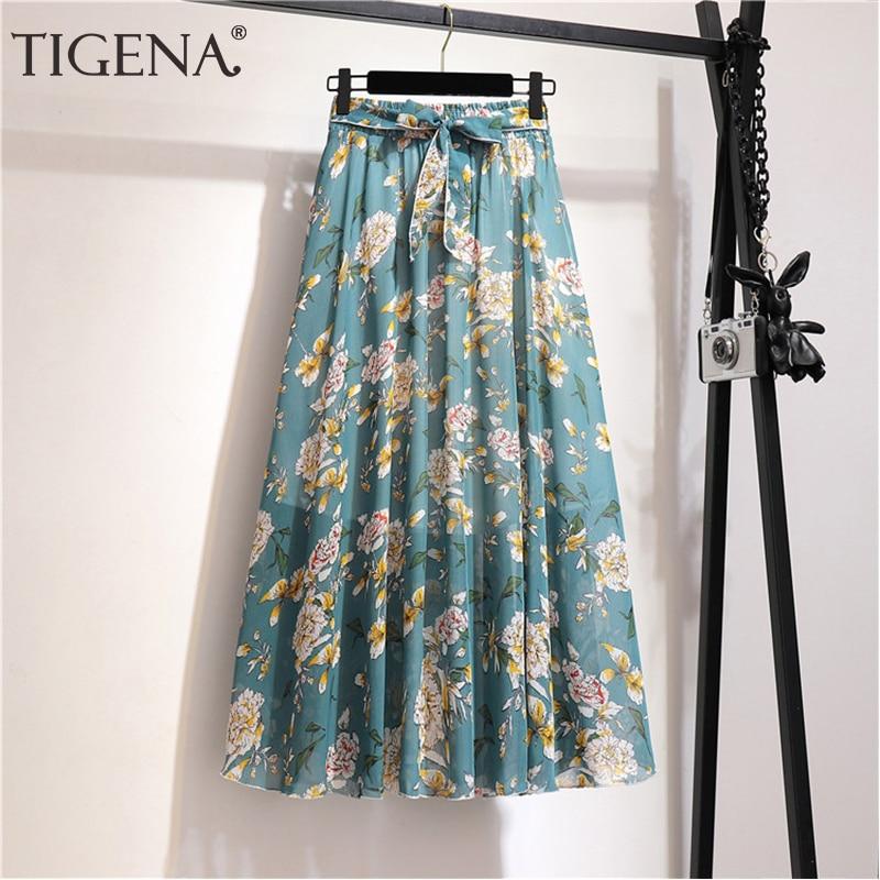 TIGENA Floral Print Chiffon Long Skirt Women Fashion 2020 Summer Boho Holiday A Line High Waist Pleated Skirt Female With Belt
