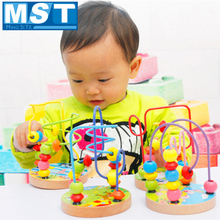 Coaster Wooden-Toys Early-Learning Colorful Baby-Boys-Girls for Gift Roller Bead-Wire-Maze