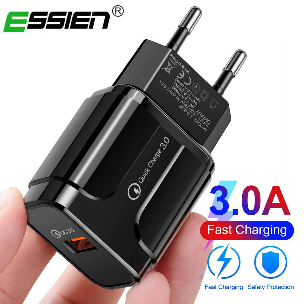 Essien USB Charger Fast Adapter Quick Charge 3 0 2 0 Mobile Phone Charger QC3 0 Wall EU US Plug for iPhone Samsung Xiaomi Huawei in Mobile Phone Chargers from Cellphones Telecommunications