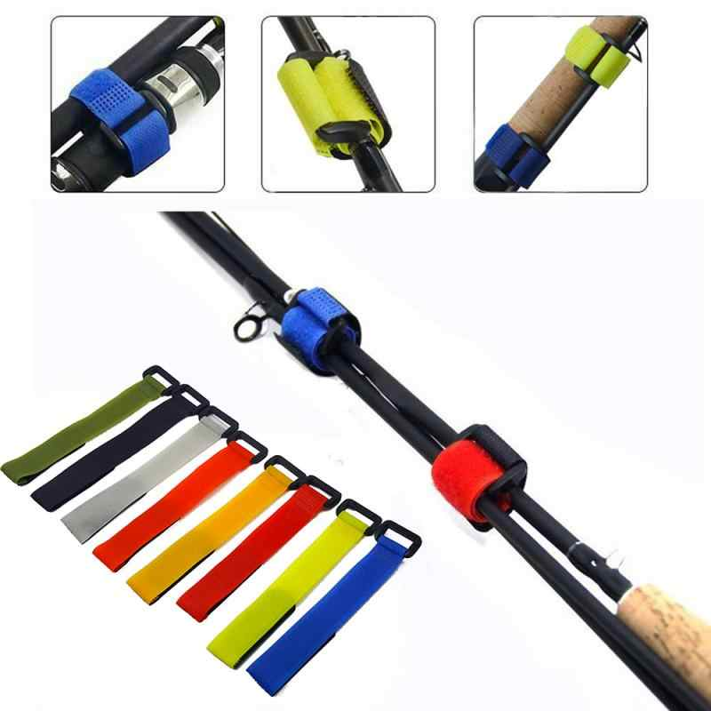 Hot nylon button strap anti-tie fishing rod binding Belt Fastener Hook   Fish Grip Tied strap outdoor fishing gear accessories
