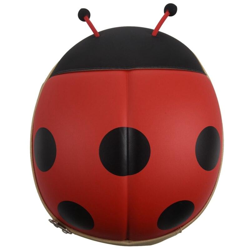 Child Backpack Cartoon Beetle Zipper Toddler Shoulder Bag Red