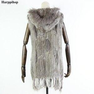 Image 2 - Новый жилет из натурального меха Harppihop, вязаный жилет из натурального кроличьего меха с капюшоном, длинное пальто, женские зимние жилеты
