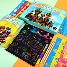 цены 50PCS Scratch Art Paper 20*14cm Magic Painting Paper with Stick Scraping Drawing Toy Colorful Graffiti Stencil Toy Gift for kids