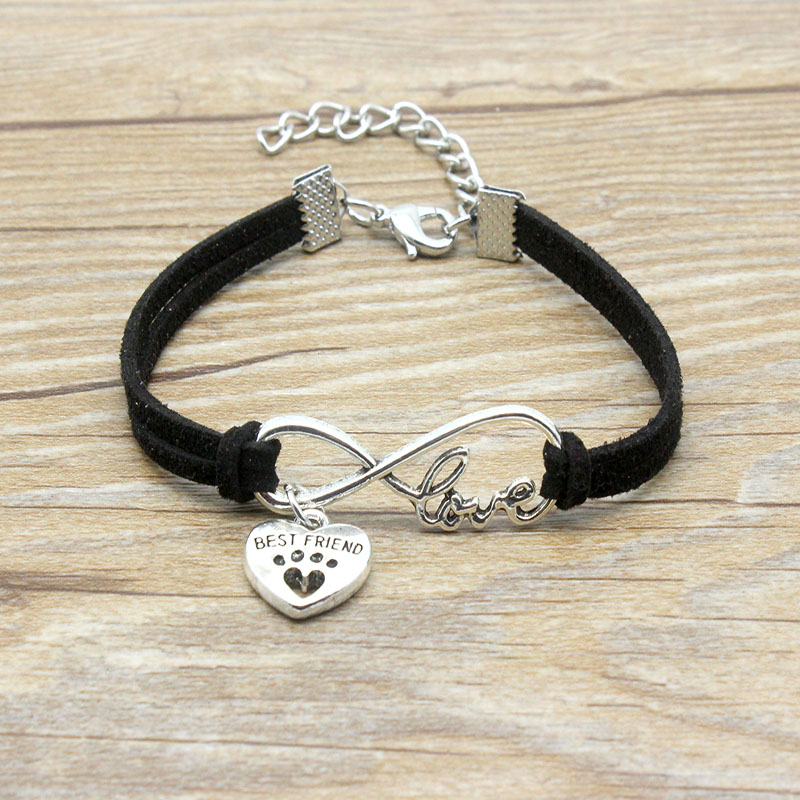 Infinity Love Best Friend Heart <font><b>Dog</b></font> <font><b>Paw</b></font> Charm <font><b>Bracelet</b></font> Suede Leather Adjustable <font><b>Bracelets</b></font> Women Girl Minimalist Jewelry image