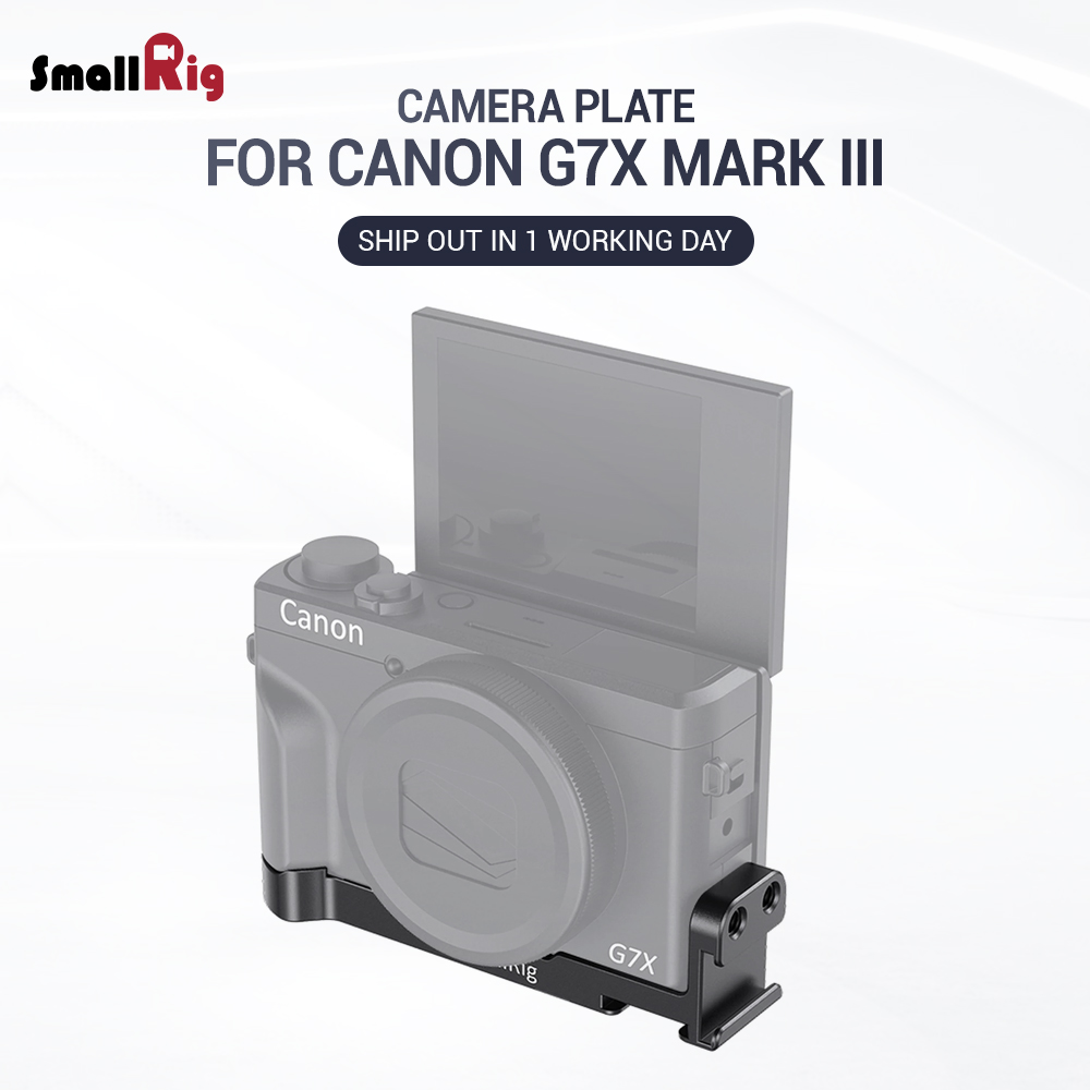 SmallRig G7X Mark III Mounting Plate W/ Two Cold Shoes For Canon G7X Mark III  Vlogging Rig Can Attach With Microphone  2433