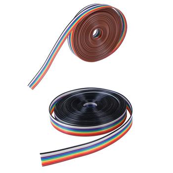 5 metrów kabel taśmowy 10WAY płaski kolor tęczowy kabel taśmowy drut tęczowy kabel 10P kabel taśmowy 28AWG tanie i dobre opinie HUXUAN NONE CN (pochodzenie) 10 WAY Flat Cable Tinned copper