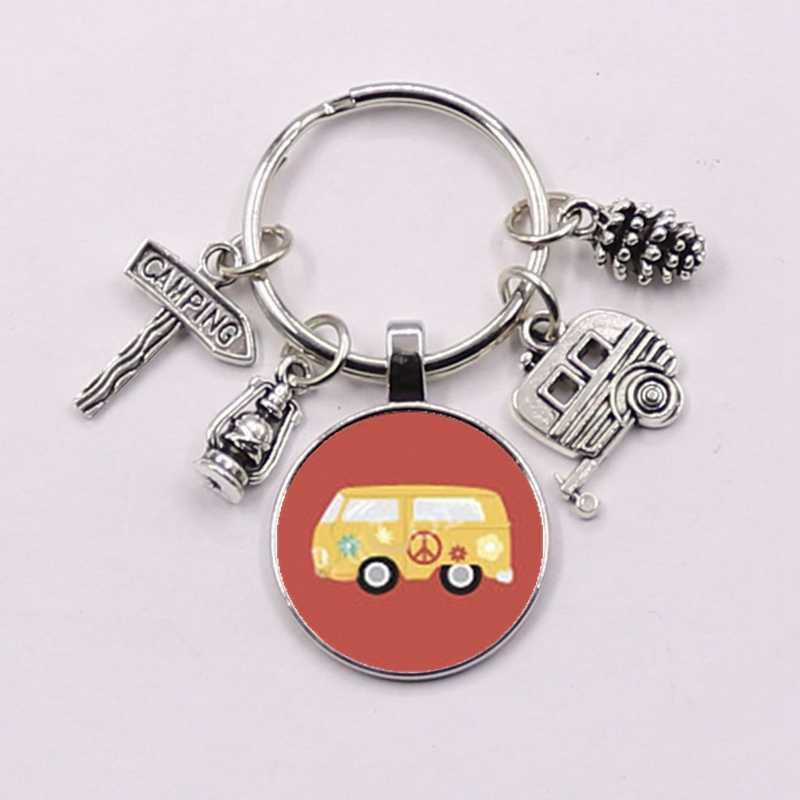 Novo vintage hippie sinal de paz van ônibus chaveiro moda masculina bolsa do carro pingente chaveiro titular jóias
