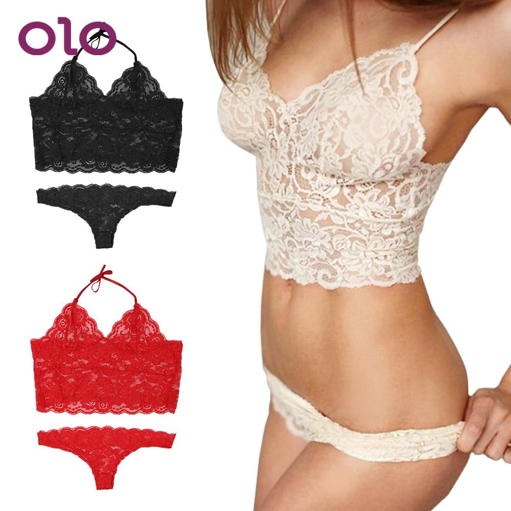 OLO 2Pcs/Set Exotic Apparel Lace Women Sexy Lingerie Exotic Lingerie Babydoll Nightwear Adjustable Bondage Sexy Lingerie Set
