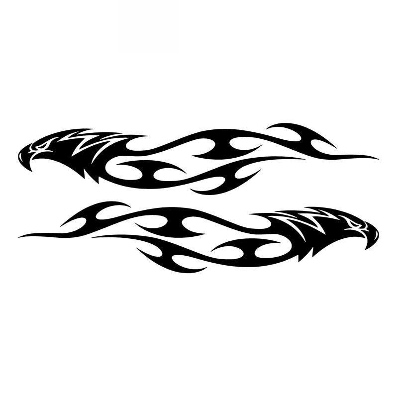 Car Sticker Pair Eagle Flames Tribal PVC Car Decoration Accessories Sticker Creative Waterproof Sunscreen Black/white,15cm*3cm