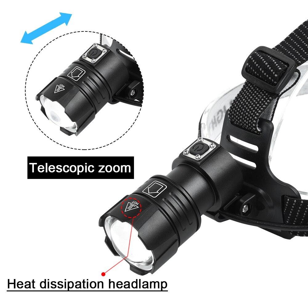Супер яркий XHP70.2 USB Перезаряжаемый светодиодный налобный фонарь XHP70 для охоты, велоспорта, водонепроницаемый, 3x18650