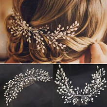 Headwear Clip-Accessories Jewelry Flashing-Ornaments Bride-Hair-Comb Crystal Pearl Rhinestone