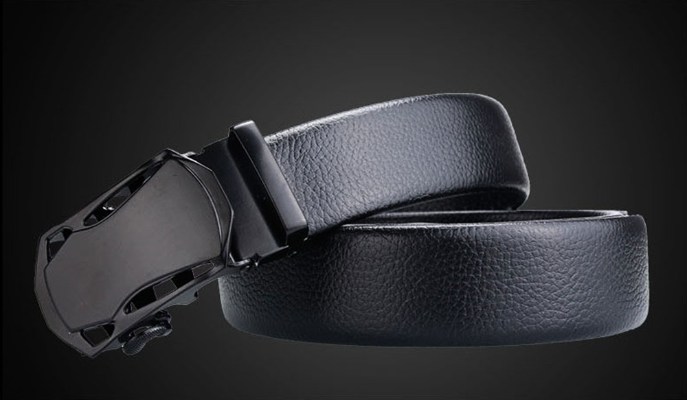 Fashion Automatic Buckle Black Genuine Leather Belt Men's Belts Cow Leather Belts For Men 3.5cm Width