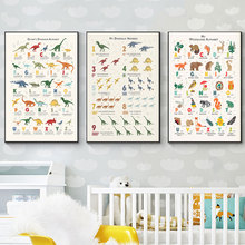 Modular Canvas HD Print Cartoon Dinosaur Alphabet Picture Nordic Style Wall Art Painting Home Decor Poster For Kid Bedroom Frame