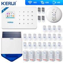 KERUI W18 WIFI GSM SMS Home do Assaltante Sistema de Alarme de Segurança Sensor De Movimento Da Cortina Sirene Solares Sem Fio IP Câmera Interna