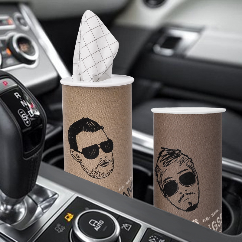 3pcs Cylinder Car Paper Tissue Box Print Paper Towel 3 Layers Disposable Paper Tissue