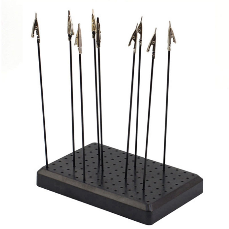 9 x 14 Holes Painting Stand Base with 10Pcs Metal Alligator Clip Stick Modeling Tool Set Toys Hobbies Accessories Alligator Clips     - title=