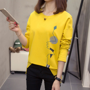 Image 2 - Nkandby Plus Size Women T shirts Autumn Clothes Loose Graphic Tees Shirts Oversized Split Long Sleeve Print Korean Lady Tshirts