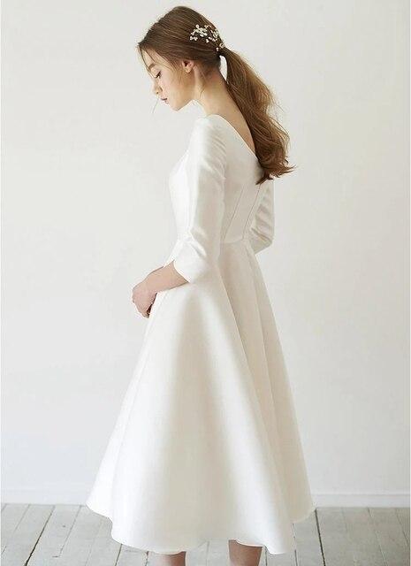 New Simple Wedding Dresses Satin Tea length With Sleeve abendkleider matrimonio vestidosde novia robe-de-mariee Direct China 5