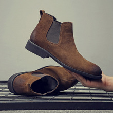 Yomior Fashion Winter Men Chelsea Boots Brown Slip-On Cow Leather Trend Man Leisure Ankle