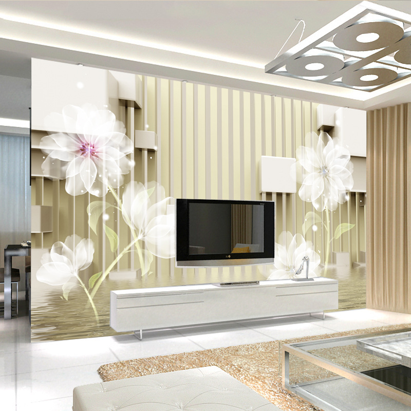 3D Wallpaper Mural Modern Minimalist Non-Woven Seamless Wall Cloth Living Room Television Background Wall Wallpaper