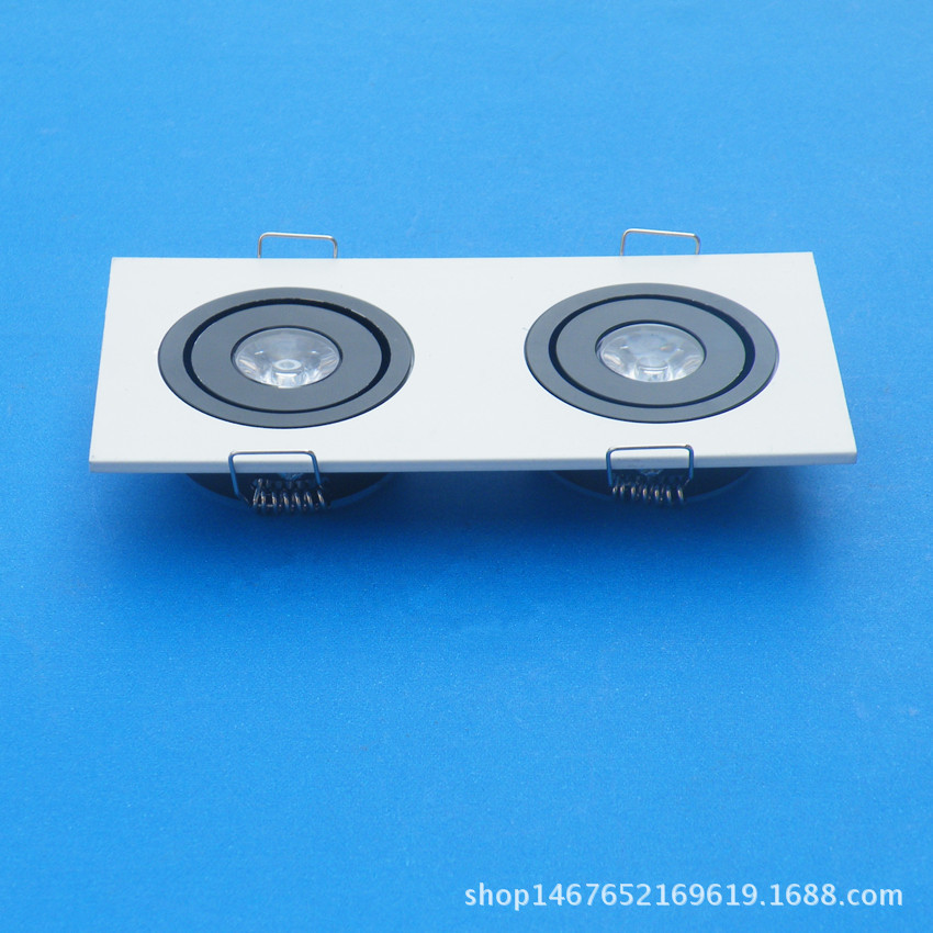 1W Square Ceiling Light Housing White And Black Grille Lamp Shell Suite Single-head Double Headed Three Head Four Head