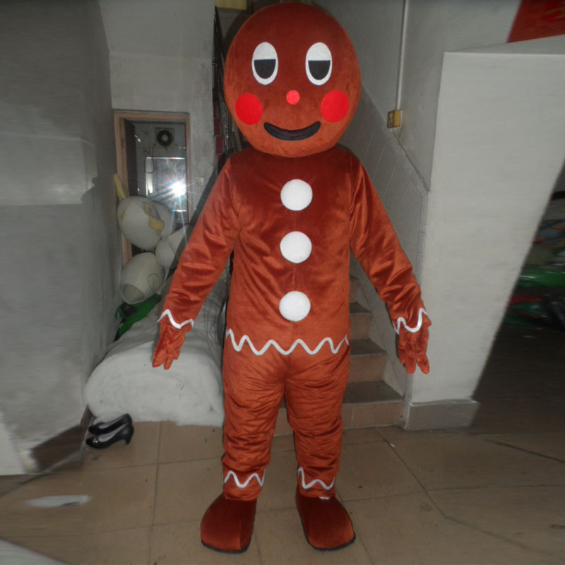 Real photo cartoon character gingerbread man mascot costume fun mascot costume party custom mascots in Mascot from Novelty Special Use