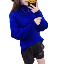 Lantern Sleeve Yellow Women's Sweater Korean Pullovers Winter Turtleneck Lady's Sweater Knit Female Pullover Blue Loose Jumper(China)