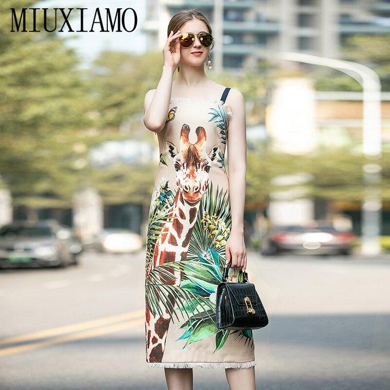 MIUXIMAO, высокое качество, 2020, весеннее платье, новейшая мода, без рукавов, Бабочка, жираф, принт, кисточки, элегантное платье для женщин, Vestidos