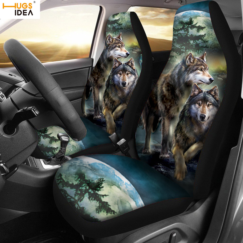 HUGSIDEA 2Pcs Wolf Night Car Seat Cover 3D Moon Wolves Pirnt Auto Interior Front Seat Decoration Sheet Car Seat Protector Cover