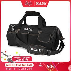 Image 1 - HILDA Tool Bags Waterproof Men canvas tool bag  Electrician Bag Hardware Large Capacity Bag Travel Bags Size 12 14 16 18 Inch