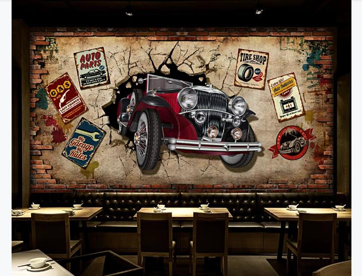 Custom Photo Murals <font><b>Wallpaper</b></font> <font><b>3D</b></font> personality <font><b>car</b></font> <font><b>Wallpaper</b></font> Restaurant Cafe Living Room Background Wall Decor Wall Papers image