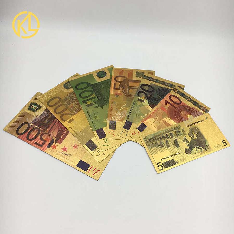 1 шт., антикварная имитация золотой фольги, сувенир, евро деньги, Евро 5, 10, 20, 50, 100, 200, 500, на Рождество, Новый Год, украшения и подарки