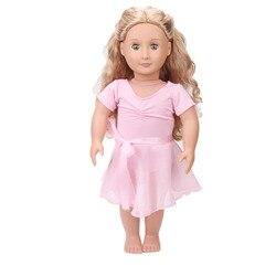 18-дюймовая кукольная одежда для девочек, американское розовое балетное платье для новорожденных, детские игрушки, юбка, размер 43 см, детские...