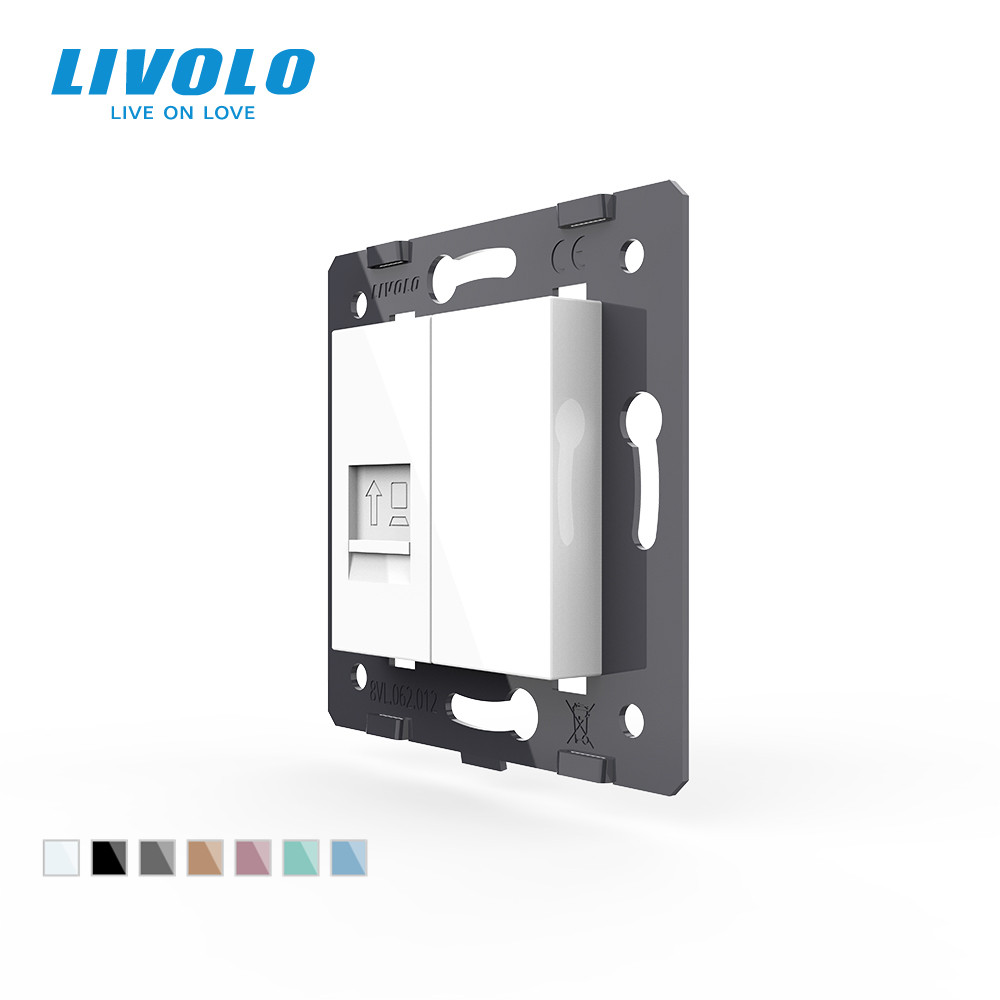 Free Shipping Livolo White Plastic MaterialsEU  Standard DIY Accessory Function Key For Computer SocketVL-C7-1C-11