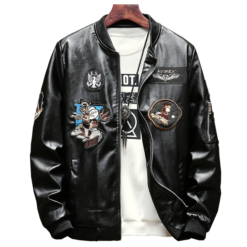 Lenstid New Bomber Jacket Men MA-1 Military Biker Leather Jacket Mens Printed Pattern Pilot Leather Jackets Male Baseball Jacket