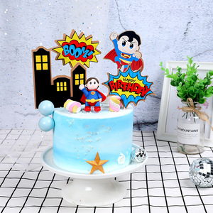 Cartoon Superman Boy Cake Topper Child Boy Birthday Party Cake Decoration Baby Shower Household Products