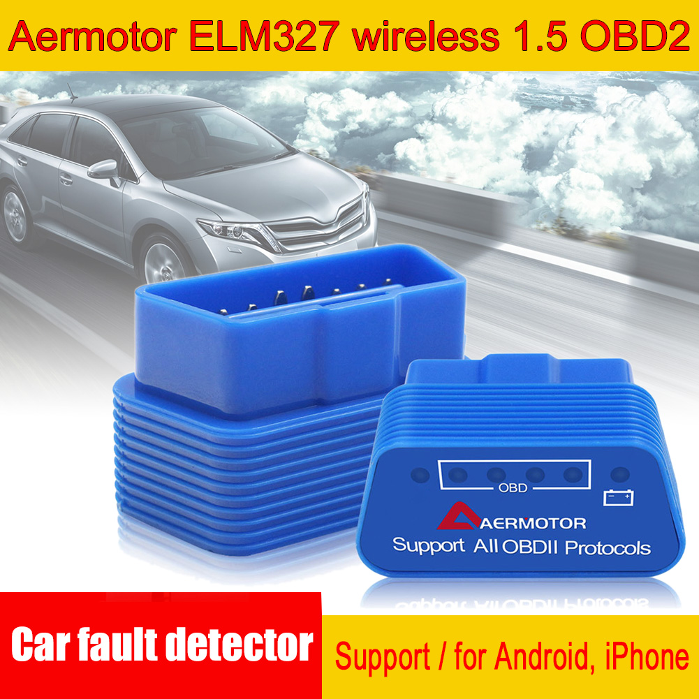 Blue High Quality Aermotor ELM327 V1.5 OBD2 Support 9 Protocols Car Diagnostic Tester Suitable For Android & Apple