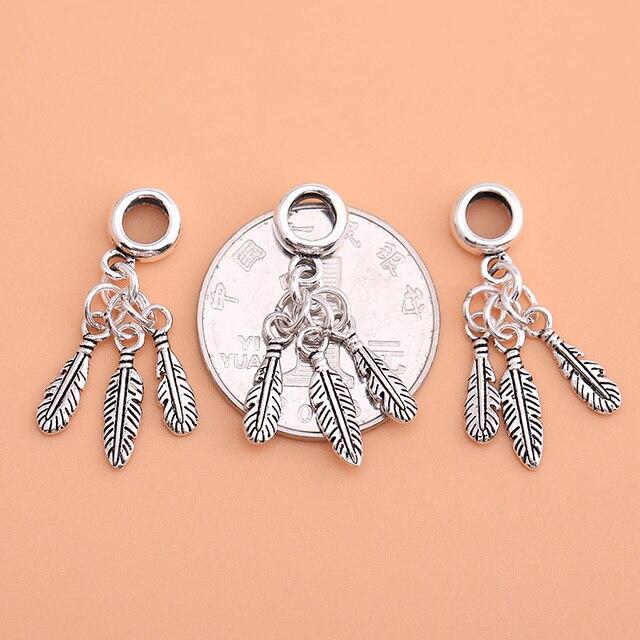 925 argent sterling Thai argent bijoux accessoires rétro trois feuilles plume pendentif à la main bricolage matériel bracelet collier stylo