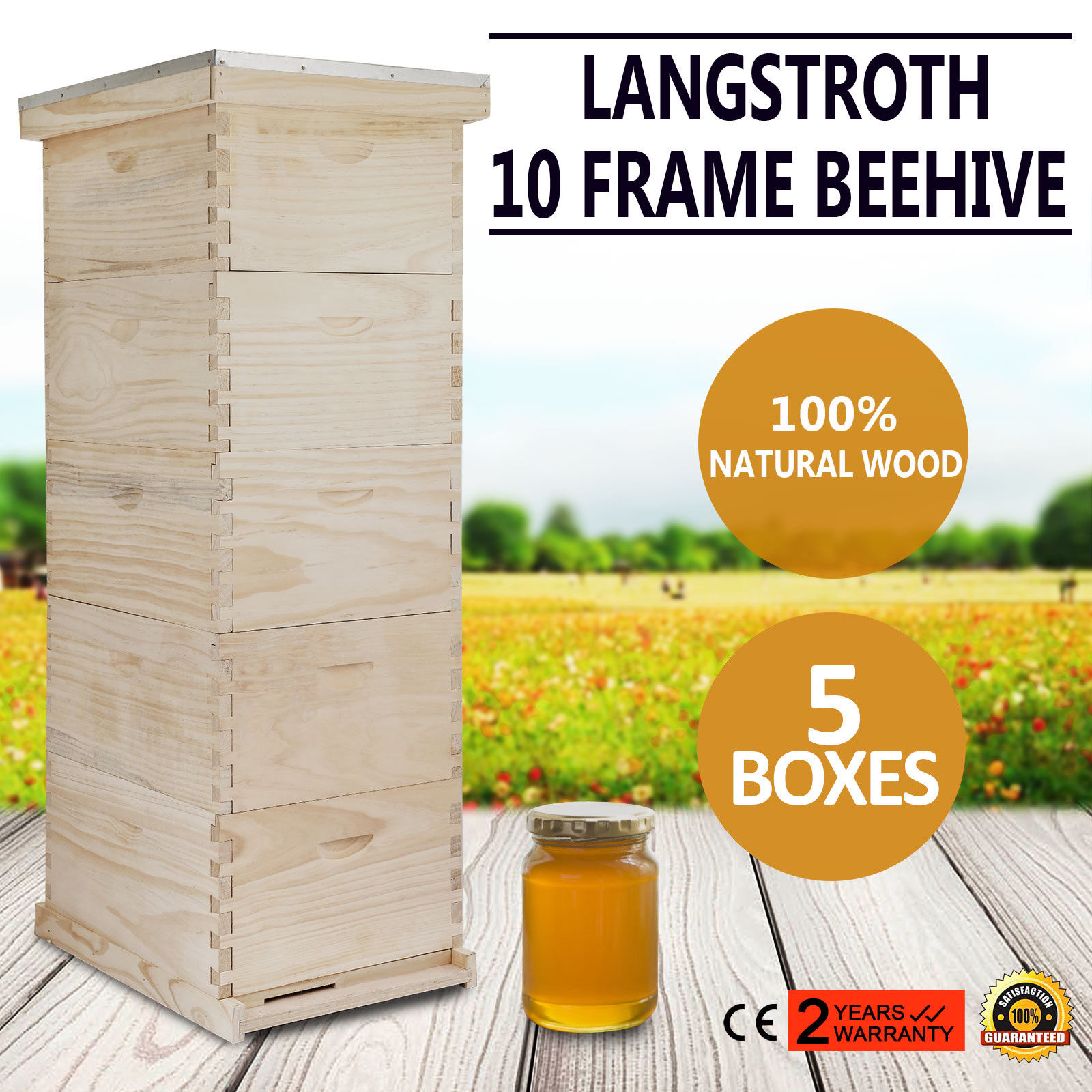 Free Shipping Bee Hive 10 Frame 5 Box Beekeeping Kit Honey Bee Hive Metal Roof