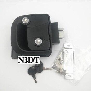 Black RV Entry Paddle 32-38mm Door Lock Latch Travel Camper Trailer Motorhome Handle With Deadbolt