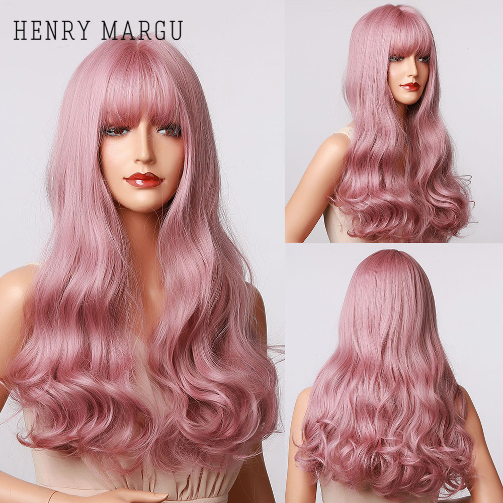 HENRY MARGU Long Wavy Pink Purple Ombre Synthetic Wigs With Bangs Natural Party Wigs for Women Cosplay Heat Resistant Wig