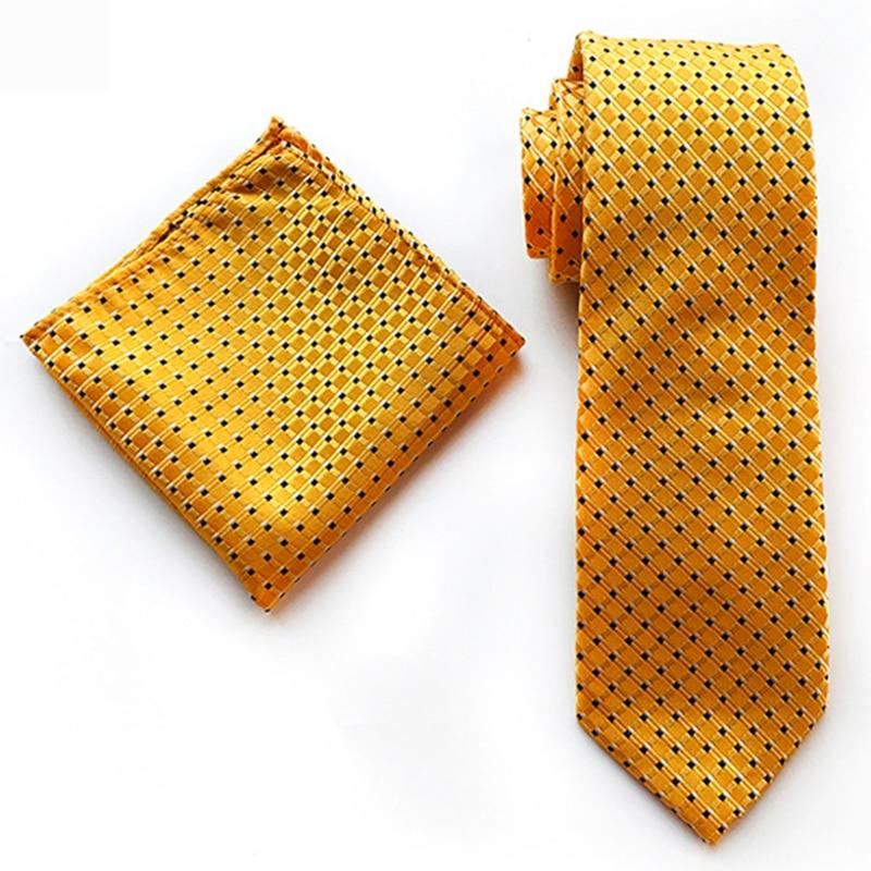 Fashion 8cm Silk Handkerchif Tie Set Bule Yellow Striped Plaid Jucquard Pocket Square Necktie For Men Business Formal Neck Ties