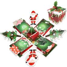Christmas Explosion Box Scrapbook DIY Photo Album Surprise Gift Box with DIY Accessories Kit New Year Christmas Gift(China)