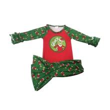 Самый популярный Рождественский комплект с рожками для девочек, Детский комплект с модным принтом, комплекты для малышей высокого качества
