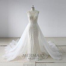 Neue schwere perlen Vestido De Novia Spitze 2 In 1 Meerjungfrau Hochzeit Kleid 2020